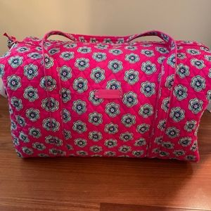 Vera Bradley Pink Swirls Flowers Large Duffel Bag